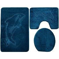 Baño de 3piezas (85x 55cm Petrol Azul baño Delfín inodoro (Alfombrilla baño alfombra