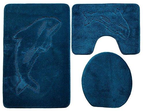 Baño de 3piezas (85x 55cm Petrol Azul baño Delfín inodoro (Al