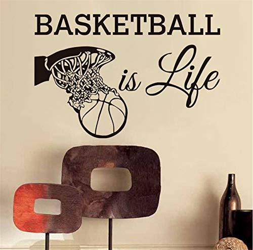 t Leben Wandtattoos Sport Fans Vinyl Removable Home Decor Basketball In Den Korb Wandaufkleber Für Jungen 86 * 58 Cm ()