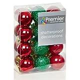 Weihnachtsbaum Dekoration 24Stück 30mm Mini bruchsicheren Weihnachtskugeln–Rot/Grün