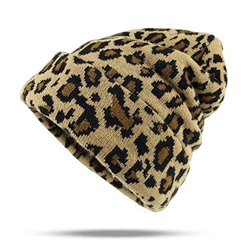 DFKHNOE Gorros Moda Mujer impresión de Leopardo Mantener Caliente Sombreros  de Invierno de Punto Hemming Sombrero Skullies Go 22241e3b706