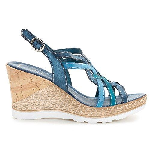 ALESYA by Scarpe&Scarpe - Schuhe mit Keilabsatz und Überkreuz-Detail, Leder Blau