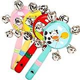 Xuxuou Baby Glocke Rasseln Glocken Handglocken Kinder pfeifen Hand Glocken Baby Karikatur Spielzeug Holz Spielzeug Kinder Musikinstrumente 8 * 2 * 13CM(0-2 Jahre)