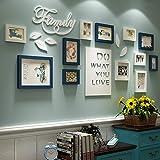 12 Foto Bilderrahmen Sets Mehrere für Hintergrund Wandmontage durch Massivholz Collage Kombination im Wohnzimmer Schlafzimmer Restaurant Kreative Einfache Dekoration Prop (Farbe : Blau+Weiß)