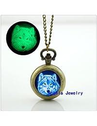 Azul Wolf Glowing Reloj de bolsillo collar colgante en forma de lobo brilla en la oscuridad de reloj de bolsillo