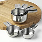 Measuring Cups by KitchenMade Stainless Steel - Set of 6 - FREE Recipe eBook - Best Quality 18/8 Polished SS - Great Design Made to Nest One Piece Inside the Other - Compact Stackable Cups - Perfect for Home Cooking and Baking - Ideal for Professional Use - Standard Cup Sizes - 100% Satisfaction Guarantee