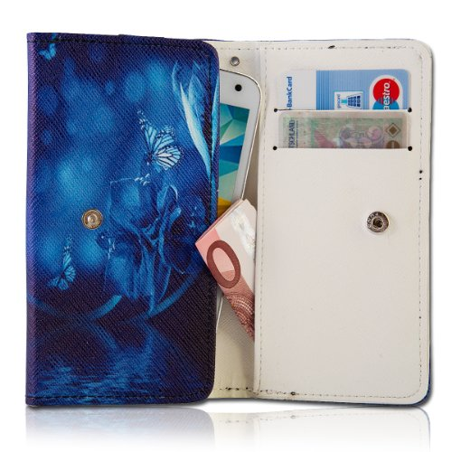 Handy Tasche Fliptasche Flip Book Etui Hülle Case Kunstleder schwarz / blau - Blue Butterfly book6-3 für LG Optimus L5 II E460 / LG Optimus L7 II P710 / Mobistel Cynus F3 / Blackberry Q10 / HTC First / Huawei Ascend W1 / Huawei Ascend Y300 / LG Optimus F5 P875 / Base Lutea 3