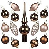 Weihnachtskugeln Christbaumschmuck Glas 3cm Weihnachtsbaum Ornamente Ball mit Topper 15 Stück Tisch Herzstück Dekorationen für Hochzeitsfeier Bankett von Art Beauty (Bronze und Champagner)