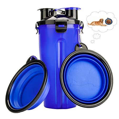 RIZON 2-in-1 Hunde Trinkflasche mit Faltbar Reisenapf hunde (2er Set), Tragbare Haustier Wasserflasche Katze wasserspender für Unterwegs, Wandern, Draussen, Reisen, BPA Frei, 350ml, Blau
