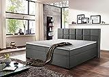 lifestyle4living Boxspringbett 180x200, grau, Stoff | Entspannter schlafen auf dem modernen Doppelbett komplett mit Kopfteil im Karomuster abgesteppt