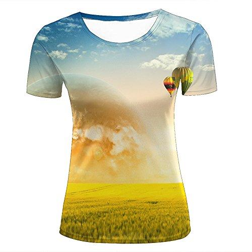 SHENMAHU para Mujer Casual Design 3D Printed Golden Rice Field and Hot Air Balloon Short Sleeve Summer T Shirts Tees S
