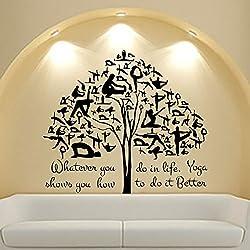 Yoga Vinilos decorativos Arte Cita árbol del gimnasta de la etiqueta engomada Gimnasio Home Decor Diseño de interiores murales Viernes Negro Venta MN299