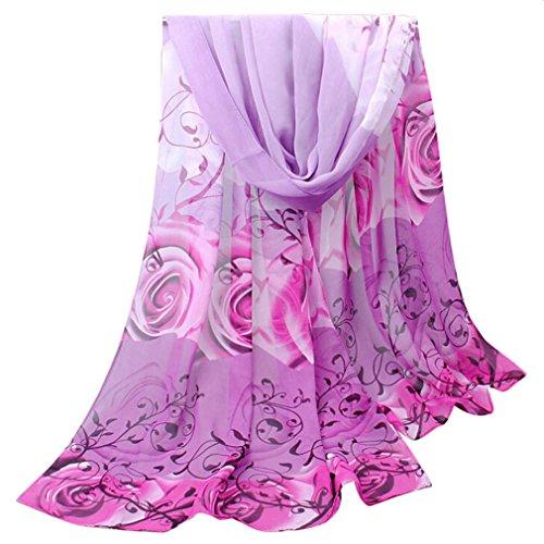 OverDose Frauen Elegant schöne Rose Muster Damen Chiffon Schal Wraps Schals Halstuch Tücher - Mit Wollschal Taschen