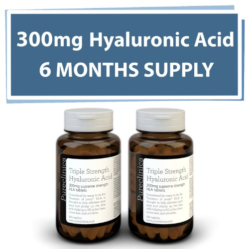 Hyaluronic Acid 300mg x 360 tablets (2 bottles each with 180 tablets – 6 months supply). Triple Strength Hyaluronic Acid. 300% stronger than any other HLA tablet. SKU: HLA3x2