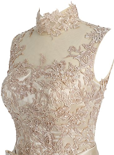 Dressystar Damen Kurz Brautkleid für Standesamt Spitze Blau