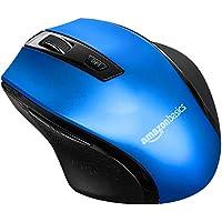 AmazonBasics - Ratón inalámbrico ergonómico - DPI ajustable - Azul