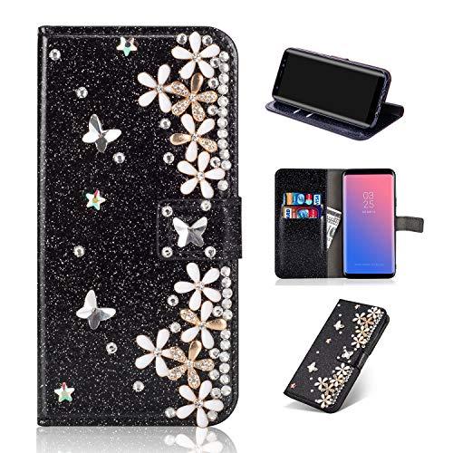Floral Flüssigkeit (Artfeel Glitzer Leder Brieftasche Hülle für Samsung Galaxy S9 Plus, Bling Glänzend Strass Magnetisch Flip Handyhülle mit Kartenfächer,Handarbeit 3D Diamant Blume Stand Hülle-Floral Schwarz)