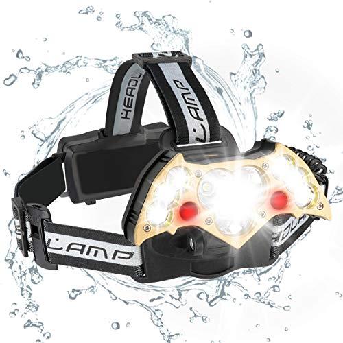LED Kopflampe wasserdicht Stirnlampe USB Wiederaufladbare;Sehr hell,wasserdicht, leicht und bequem, Perfekt fürs Joggen, Gehen, Campen,Lesen, Laufen, für Kinder und mehr,10000lm 6 Modi