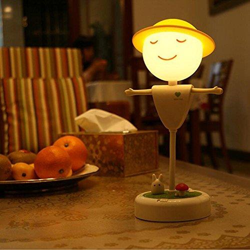 eine Nacht Lampe LED Creative Mikro-Landschaft Tischleuchte Intelligente Induktion Schlafzimmer Zeitüberschreitung Night Lamp , Yellow light (Vogelscheuche Baby)