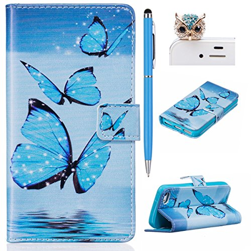 iPhone SE Hülle,iPhone 5S Case,iPhone 5 Cover - Felfy Flip Bookstyle Wallet Luxe Handyhülle Niedlich Farbe Muster mit Bling Diamant Strass Design PU Leather Stand Wallet Flip Lederhülle Case Cover Pou Blaue Schmetterling