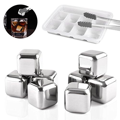 MVPOWER Cubos de hielo Whisky Cubos Enfriadores Acero Inoxidable 8 Piedras Reutilizable...