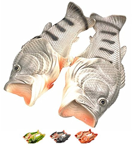 Fisch Hausschuhe Strand Sommer Unisex Schuhe Kreative Kinder Tier Sandalen Lustige Dusche Anti-Rutsch Pantoffeln Cool Herren Eva Besondere Stil Schwarz 44-45 (Besondere Fische)