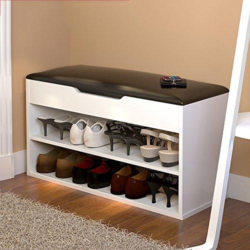LJHA Tabouret pliable Repose-pieds moderne / chaussure armoire / multifonctions bottes tabouret de rangement / tabouret de canapé (6 couleurs en option) chaise patchwork ( Couleur : Blanc , taille : 80*45cm )