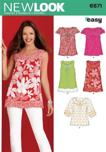 New Look Schnittmuster 6871 für Damen-Oberteile, Größe A (38-50), mehrfarbig