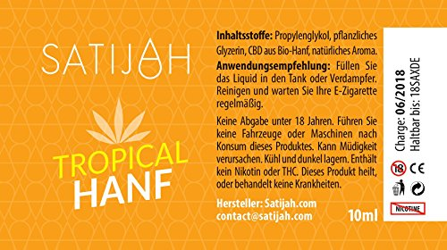 Satijah E-Liquid CBD Hanf-Geschmack, 10ml, 50mg CBD - 2