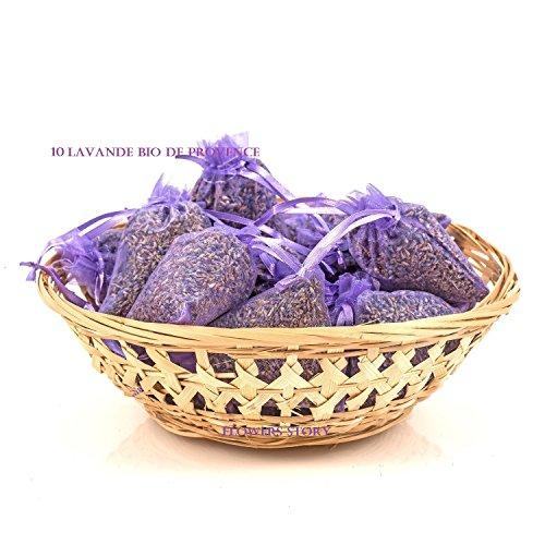 FLOWERS STORY 10 sachets lavande BIO PROVENCE organza contenant chacun 10 g d'authentique lavande française BIO total 100 g d'Aix en Provence