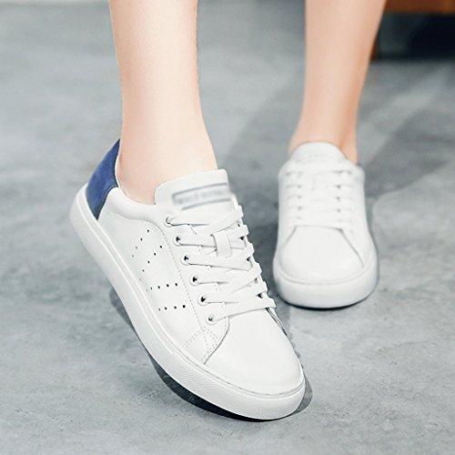 HWF Scarpe donna Molla bianca femminile Scarpe sportive piatte Scarpe casual piatte Scarpe da donna traspiranti ( Colore : Bianco blu , dimensioni : 38 ) Bianco Blu