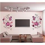 ufengke® Bellissimi Fiori Rosa Adesivi Murali, Camera da Letto Soggiorno Adesivi da Parete Removibili/Stickers Murali/Decorazione Murale