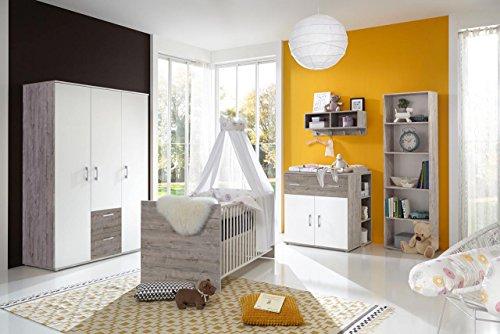 Babyzimmer Komplett Set für Jungen & Mädchen, weiß, grau, Möbel in Sand-Eiche | Modernes Baby...