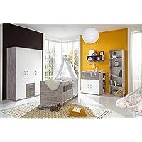 Babyzimmer Komplett Set für Jungen & Mädchen, weiß, grau, Möbel in Sand-Eiche | Modernes Baby Kinderzimmer (Komplettset) 4 teilig mitwachsend