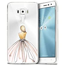 "Zenfone 3 ZE552KL Cover , WenJie Ultrafino Transparente Vestido Cenicienta TPU Silicona Suave Funda Case Tapa Caso Parachoques Carcasa Cubierta para Asus Zenfone 3 ZE552KL 5.5"""