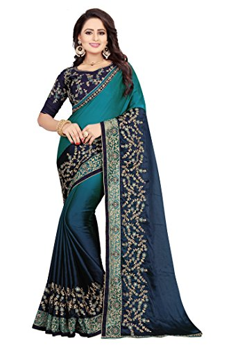 SareeShop Georgette Embroidered sarees for women latest design With Blouse Piece Material (Navy Blue # Free Size Sarees)