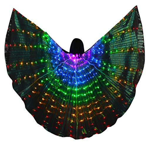 Upgrade LED Isis Wings - Bunter LED Bauchtanz Isis Wings - Kostümumhang mit Teleskopstäben, Bauchtanz, Halloween Weihnachten Kostüm Cosplay Party -