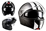 MOTO HELMETS F19 RACING Sturz-Helm Scooter-Helm Cruiser Helmet Modular-Helm Flip-Up-Helm Roller-Helm Klapp-Helm Integral-Helm Motorrad-Helm - ECE zertifiziert - inkl. Sonnenvisier - inkl. Stofftragetasche - Ralley (L (59-60cm), Racing Black)