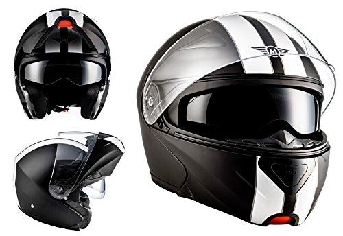 MOTO HELMETS F19 RACING Sturz-Helm Scooter-Helm Cruiser Helmet Modular-Helm Flip-Up-Helm Roller-Helm Klapp-Helm Integral-Helm Motorrad-Helm - ECE zertifiziert - inkl. Sonnenvisier - inkl. Stofftragetasche - Ralley (XL (61-62cm), Racing Black)