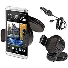 kwmobile KFZ Soporte para Smartphones - Soporte para coche para parabrisas o cuadro de mandos con almohadilla adhesiva en negro + Dispositivo de carga - compatible por ej. con Samsung, Apple, Wiko, Huawei, LG, Sony, HTC, OnePlus, ZTE
