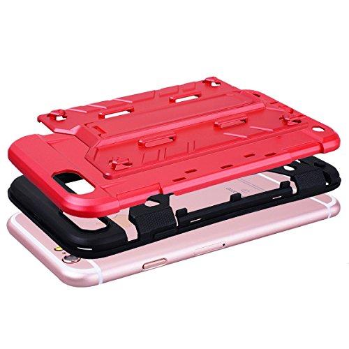 SMART LEGEND Hardcase für iPhone 6S Plus/iPhone 6 Plus Hülle mit Kartenfach Hartschale Standfunktion Schutzhülle Karten Slot Hybrid Handyhülle Tasche Skin Schale Hart PC Hardcover Clear Kristall Handy Rot