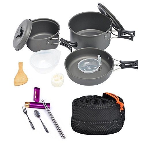 Pawaca 15 Pcs Camping Cookware Mess Kit By, Nonstick, 2 Lightweight Pots and Pan, Backpacking Gear & Hiking Outdoors Cooking Equipment Cookset, Carrying Mesh Set Bag for Backpacking, Hiking, Picnic