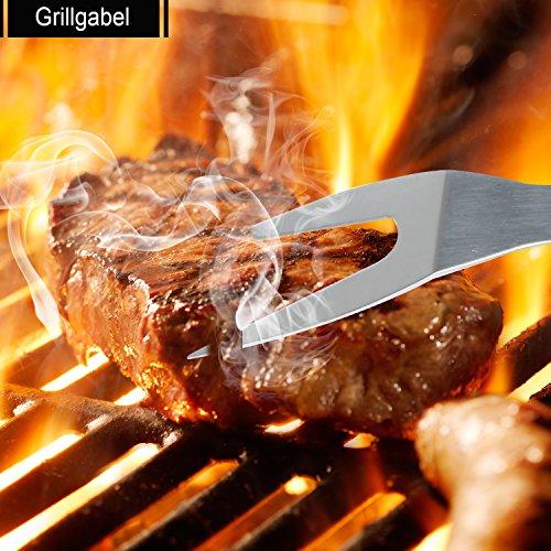 510WyXeQVCL - 6 in 1 Grillbesteck Koffer + BBQ Thermometer Bify Edelstahl Grillbesteck-Set 6-Teile im Aluminium BBQ Grill Zubehör mit Tragetasche