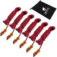 Wonyered Cuerdas Vientos Tensores Reflectantes 5M Accesorios para Tienda de Campa/ña con Bolsillo con Cord/ón y Ajustador de Aluminio para Acampada y Senderismo al Aire Libre 6 PCS
