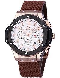 Nuevo reloj de los hombres de doble movimiento de cuarzo de Japón hora Dual Display Relojes de pulsera esqueleto Dial vida impermeable al por mayor # 506301