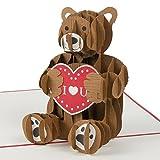 """Ich liebe dich """"Teddybär mit Herz"""" Liebe Karte, Karte zum Valentinstag, Grusskarte mit Herz, Valentinstag Karte, Muttertagskarte ,Postkarte Liebe, Romantisches Geschenk, Geschenk für Freund, Geschenk für Freundin, Pop Up Karte"""