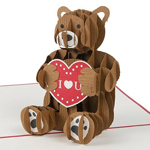"""Ich liebe dich """"Teddybär mit Herz"""" Liebe Karte, Karte zum Valentinstag, Grusskarte mit Herz, Valentinstag Karte, Liebe, Romantisches Geschenk, Geschenk für Freund, Geschenk für Freundin, Pop Up Karte"""