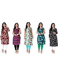 Kesari King Women's A-Line Crepe Printed Semi-Stitched Kurti Material (Multicolour, Free Size) - Pack of 5
