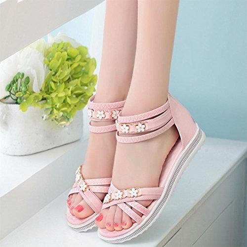 Après les chaussures plates fermeture à glissière sandales femme femmes étudiants occasionnels Rome Pink