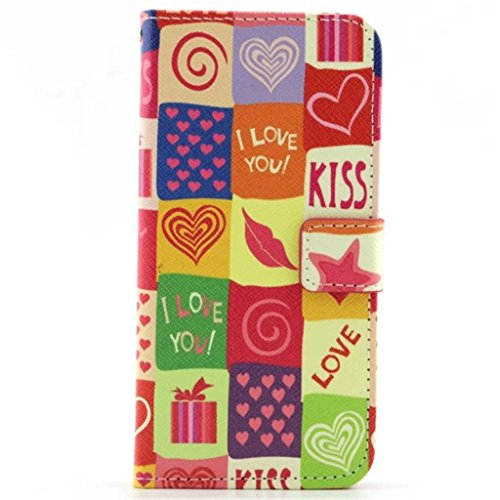 iPhone 6 Coque, iPhone 6S Coque, Lifeturt [ USA Skull ] Coque Dragonne Portefeuille PU Cuir Etui en Cuir Folio Housse, Leather Case Wallet Flip Protective Cover Protector, Etui de Protection PU Cuir P E02-Bisous amour90233